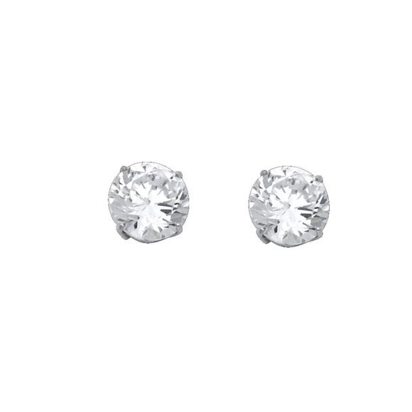 fa1ccaa2c TGDJ Jewelry | 14k White 8mm Round Cz Basket Stud Earrings | Poshmark